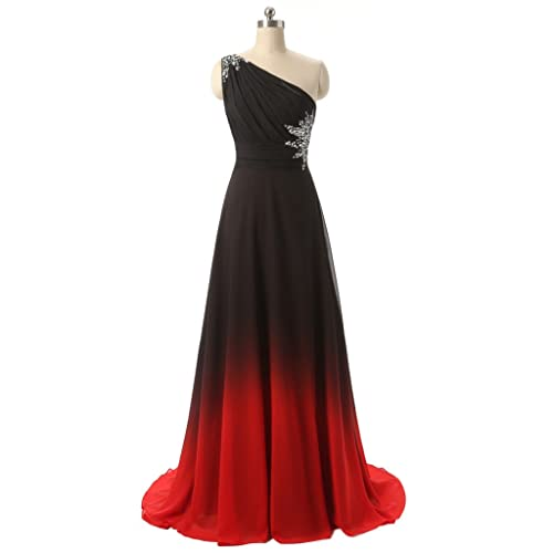 Black Red Long Evening Dresses