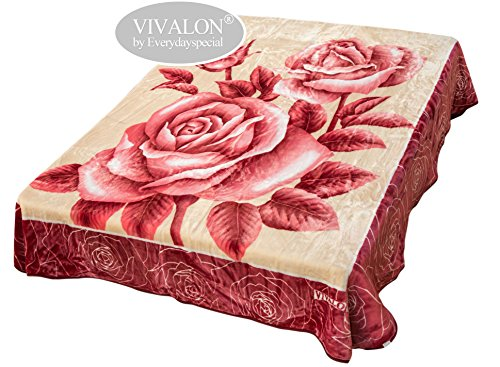 VIVALON Ultra Silky Soft Heavy Duty Quality Korean Mink Printed Red Love Roses Reversible Blanket Queen Size