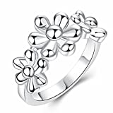 S925 Sterling Silver Flower Ring Fashion Charm Ring For Graduation Gift,Friendship,Three Flowers(Size: 8)