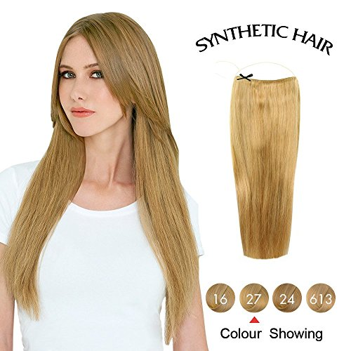 COCO Secret Hair Extensions Straight Synthetic Transparent Wire / No Clips 20 Inches Strawberry Blonde (Sew A Belle Costume)
