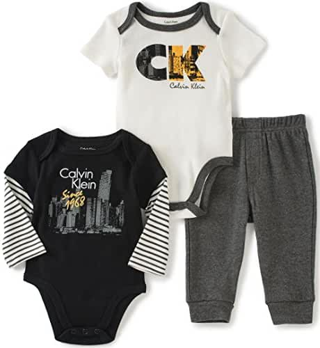 Calvin Klein Baby Boys' Two Solid Bodysuit with Pants Set