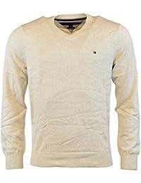 Tommy Hilfiger Mens Knit Ribbed Trim V-Neck Sweater