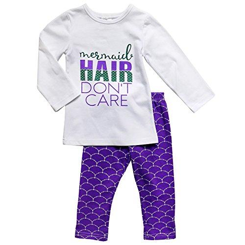 So Sydney Girls Toddler Fun Sayings Long Sleeve T-Shirt Top Stripe Pants Outfit (L (5), Mermaid Hair) (Mermaid Outfits For Kids)
