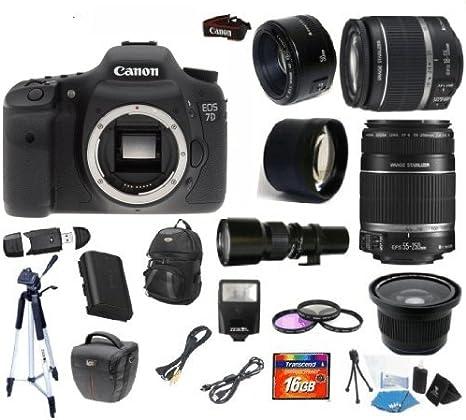 Canon EOS 7d + Canon 18 – 55 mm lente + Canon 55 – 250 mm lente +