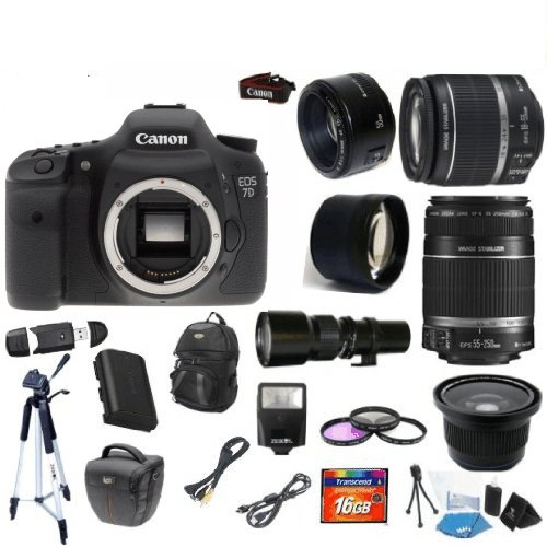 Canon EOS 7D + Canon 18-55mm Lens + Canon 55-250mm Lens + 500mm Preset Lens + Canon 50mm Lens + .40x Fisheye Lens + 2x Telephoto Lens + Extra Battery + 3 Year Celltime Warranty Repair Contract