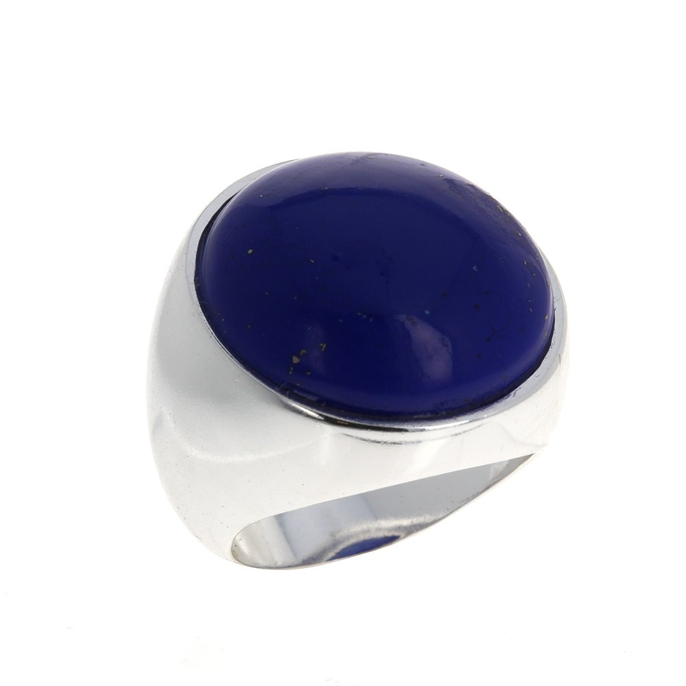 Mayas Gems Lapis Stone Dome Ring Sterling Silver .925 Large Ring Genuine Stone Statement Jewelry Unisex