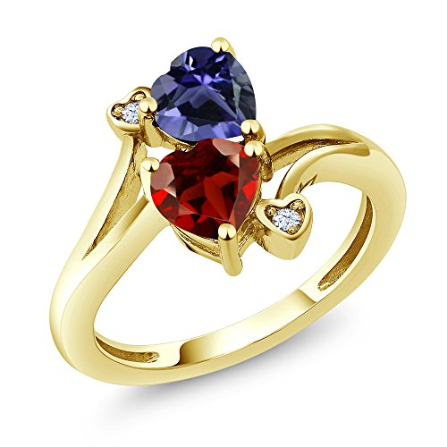 Gem Stone King 1.51 Ct Heart Shape Red Garnet Blue Iolite 10K Yellow Gold Ring (Size 6) ()
