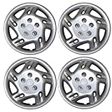 98 honda accord hubcaps - TuningPros WSC3-5027S15 4pcs Set Snap-On Type (Pop-On) 15-Inches Metallic Silver Hubcaps Wheel Cover