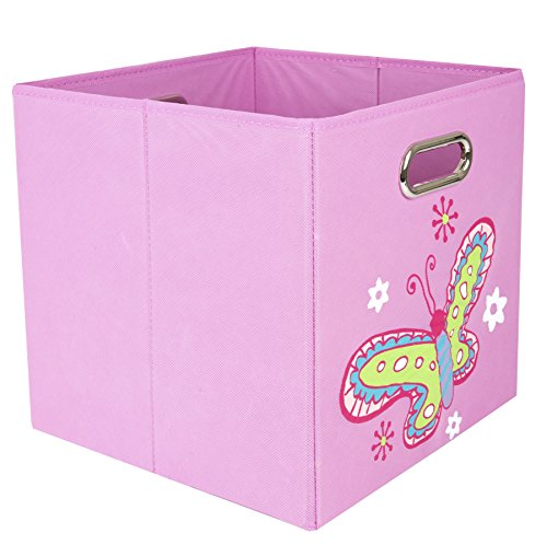 Nuby Folding Storage Bin, Light Pink Butterfly (Game Cloth Diaper Video)