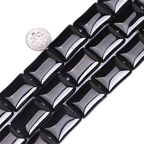 (Black Agate Beads for Jewelry Making Natural Semi Precious Gemstone 18x25mm Rectangle Strand 15