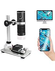 Cainda WiFi Digitale Microscoop voor iPhone Android Telefoon Mac Windows HD 1080P Videorecord 50-1000X Vergroting Draadloze draagbare microscoop met verstelbare metalen standaard en draagtas