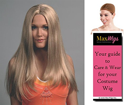 Blonde Hippie Costumes Wig (Jennifer Long Straight Color Blonde - Enigma Wigs Women's 70s Woodstock Hippie Center Part Bundle with Wig Cap, MaxWigs Costume Wig Care Guide)