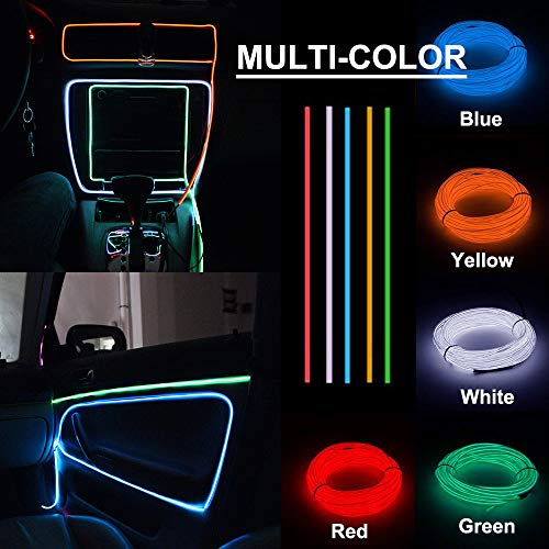 Soltuus 5 Pack/16 4 ft EL Wire Kit, Neon Lights for Parties, Halloween, USB  Powered Blacklight Run, DIY Decoration (White/Blue/Red/Green/Yellow)