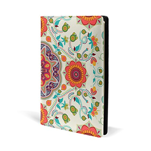 (Bohemian Hippie Print Book Covers, Fits Most Hardcover Textbooks up to 8.7X5.8. PU Leather School Book Protector. Easy to Put On)