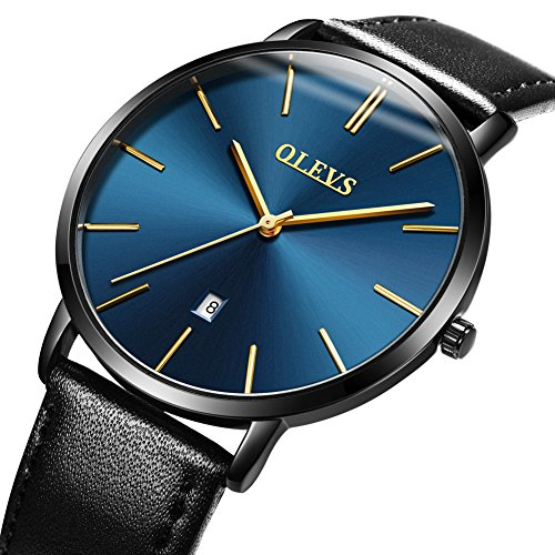 Mens Ultra Thin Minimalist Watches on Sale, Business Casual Wrist Watch with Black Cowhide Leather Strap Band Blue Dial Watches, Date Water Resistance Watch, 2019 OLEVS Brand Valentines Gifts for His (Dial Band Blue Watch)
