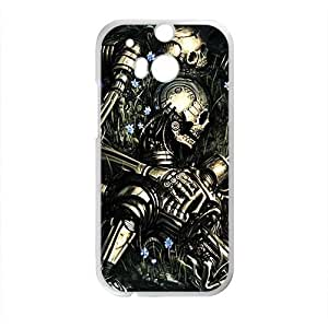 Black Skull Pattern High Quality Custom Protective Phone Case Cove For HTC M8