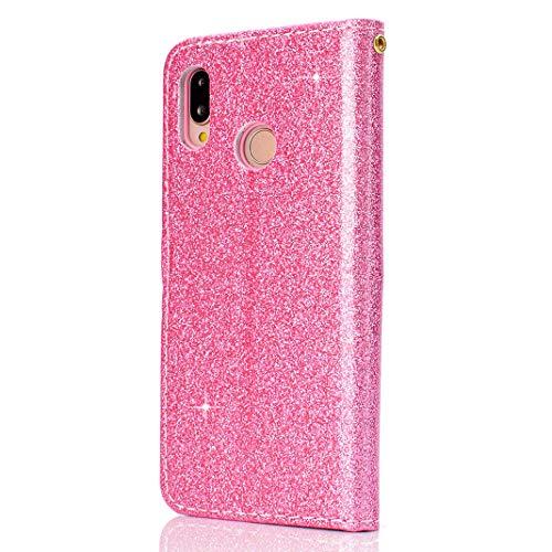 P20 en à Glitter Bling Cuir Clapet Lite Case Magnétique Huawei Lite Antichoc PU Housse Support Languette Rabat Fonction et Cartes Premium Rose pour Huawei Emplacements Coque avec Portefeuille P20 Luxe XY56P
