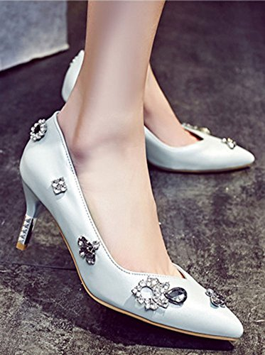Low Easemax Stiletto Toe Blue On Shoes Pumps Pointed Slip Floral Heels Womens Rhinestones Cut Mid qBHBt