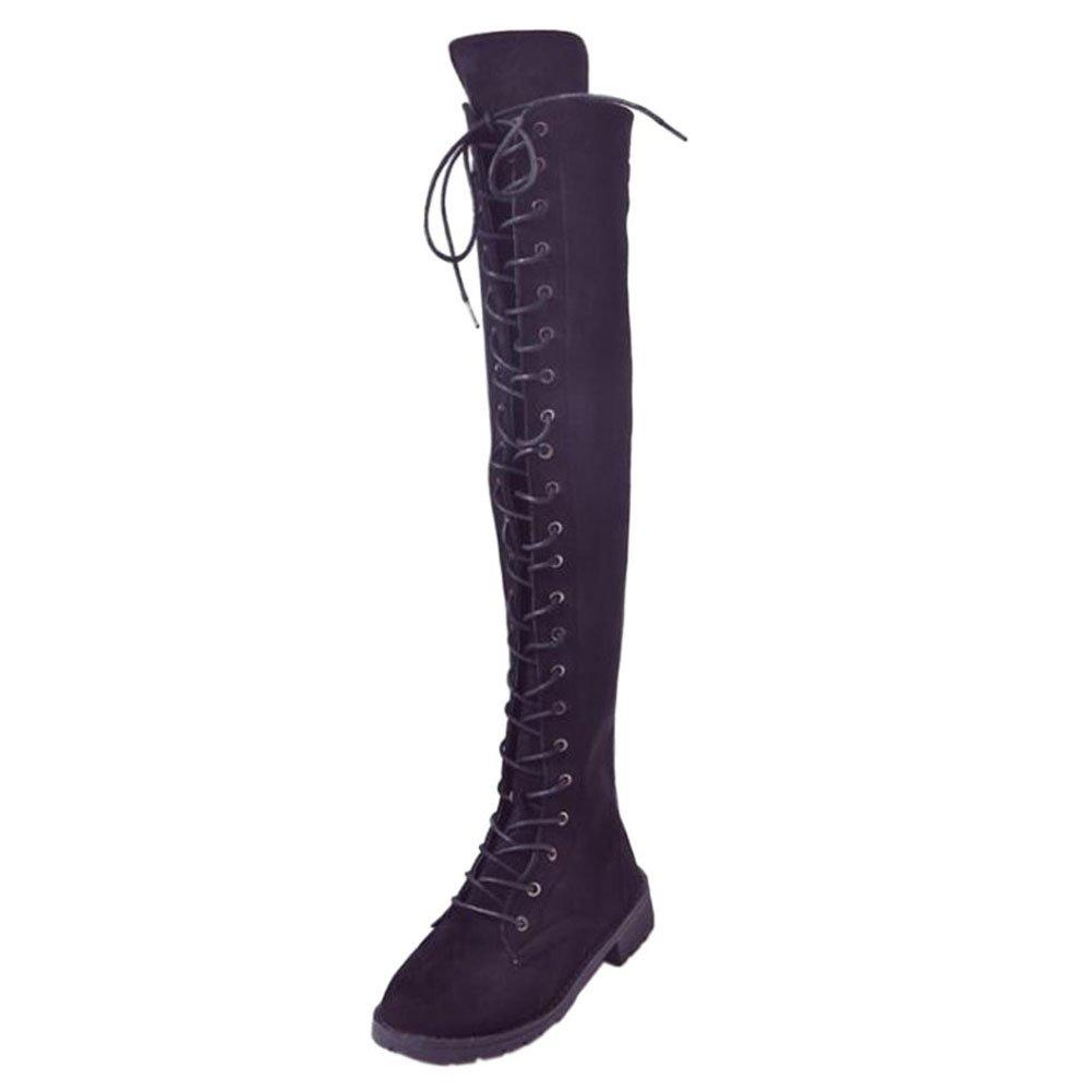 Fuyingda Femmes Dames Genou Cuisse Dames Haute B07F417Y14 Basse Talon Plat 14792 Sur Le Genou Bandage Bottes Noir Chaussures Noir da0c479 - boatplans.space