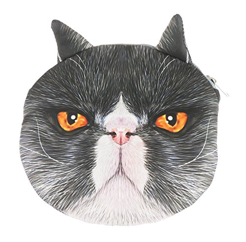 Adorable gato cara de gato pequeño bolso de mano bolso de hombro Black White Persian