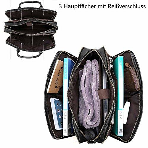 Neuleben Echtleder Damen Herren Aktentasche mit 3 Fächern 15,6 Zoll Laptoptasche Handtasche Schultertasche für Arbeit Uni Reise (Orange) Schwarz