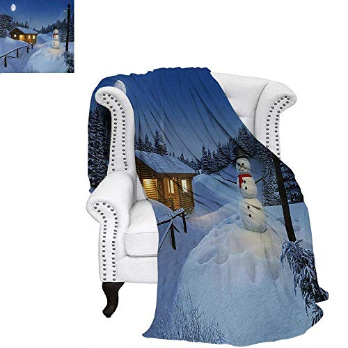 (Christmas Warm Microfiber All Season Blanket for Bed or Couch Wooden Rustic Log Cottage Scenery in The Winter Season Warm Moonlight Spirit Throw Blanket 80