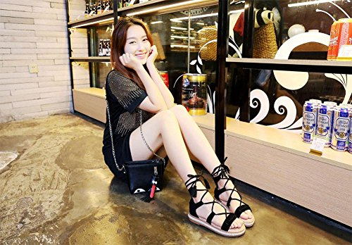 MEILI Flache Schuhe, Strohseil, Damen Fransen Sandalen mit Fransen black