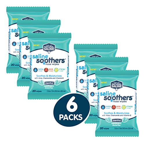 Saline Soothers Wipes Soft Natural Saline Wet Tissues For Face And Nose With Moisturizing Aloe, Cham
