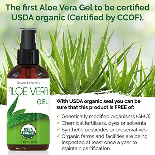 #1 USDA Organic Aloe Vera Gel – No Preservatives, No Alcohol – From Freshly Cut USA Grown 100% Pure Aloe Vera - With No Harmful Ingredients, Free of GMOs – For Healthy Skin, Face & Hair (4 fl oz)