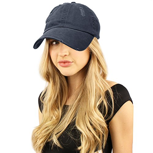 Distressed Stone Wash Denim Summer Cotton Baseball Cap Hat Adjustable Navy