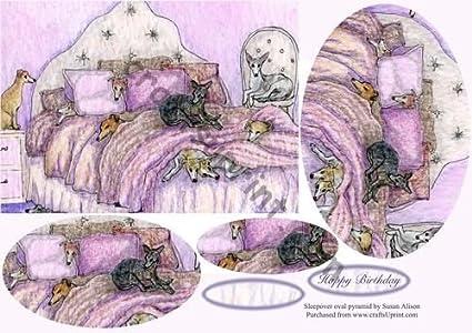 Pirámide ovalada con tema de fiesta de pijamas con lebreles y galgos de Susan