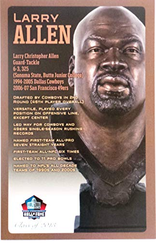 PRO FOOTBALL HALL OF FAME Larry Allen Dallas Cowboys NFL Bronze Bust Set Card (Limited Edition 1 of ()