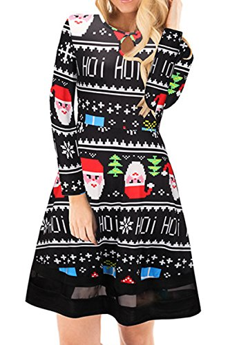 Boosouly Ladies Xmas Snowflake Print Long Sleeve Keyhole Neck Tunic A Line Dress Black And White L