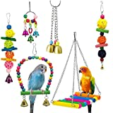 SODIAL 6 Pack Bird Swing Toys-Parrot Hammock Bell Toys for Budgie,Parakeets, Cockatiels, Conures and Love Birds