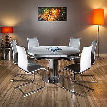 Ausziehbarer Esstisch, Rund/Oval, Grau Hochglanz Tisch, 6 Stühle, Weiß/