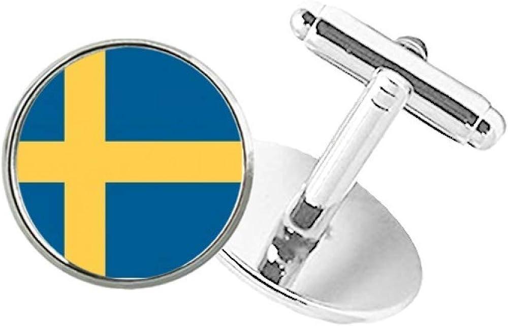DIYthinker Sweden National Flag Europe Country Round Button Cuff Clip Stud Cufflinks