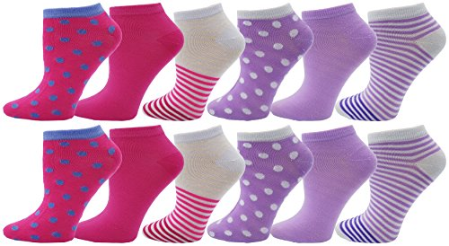Womens Low Cut Socks, 12 Pairs Ankle No Show, Colorful Fun Casual Bulk Pack (Polka Dots)