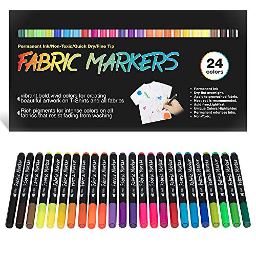 Fabric Markers Permanent for T Shirts, Canvas Bags, Clothing, No Bleed, Fine Tip, Child Safe & Non- Toxic. JR.WHITE Fabric Paint Pens Set of 24 Colors