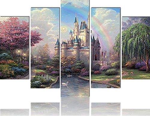 Pictures for Girls Room 5 Panel Canvas Wall Art Cinderellas Castle Painting Fairtyle Artwork for Home Decor Modern for Living Room Posters and Prints Framed Gallery-Wrapped Ready to (Child Framed Canvas)