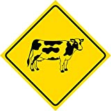 Aluminum Yellow Diamond Caution Cow Crossing Signs Commercial Metal Square Sign - Single Sign, 12x12