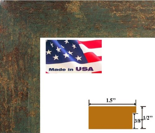 20x28 Flat Green Gold Bronze 1.5 inch Moulding Faux Finish Picture Poster Frame Wood Composite Mdf