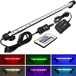 Mingdak LED Aquarium Light Kit for Fish Tank,Underwater Submersible Crystal Glass Lights Suitable for Saltwater and Freshwater,18 RGB SMD 5050 LEDs,Color Changing Flexible Lighting,14.5-inch