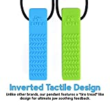 Sensory Chew Necklace Set (Improved Design) - Chewelry Pendant for Boys & Girls - Designed for Teething, Autism, ADHD, Biting, Chewing - 2-Pack (Blue & Green) by Lull (MILD, CHEWY)