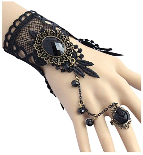 Aniwon Punk Wedding Party Black Lace Choker Beads Chain Pendant Bracelet for (Steampunk Fashion Women)