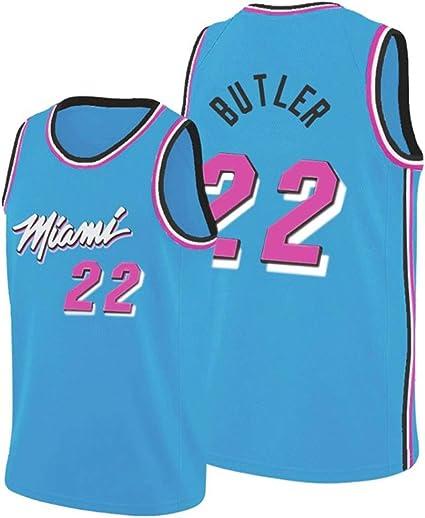 White-S GYMAN Baloncesto Masculino Jerseys Camisetas De Las Camisetas-Miami Heat # 22 Jimmy Butler Verano Unisex Sin Mangas Retro del Bordado De Malla De Baloncesto Superior De Jersey