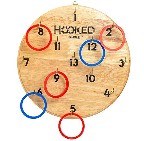 Hooked - Hook and Ring Game for Adults & Kids - Includes 13 Metal Hooks and 12 Rubber Rings ()