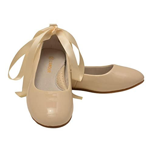 3d863296f98b6 L Amour Little Girls Cream Patent Removable Satin Strap Flats 7 Toddler