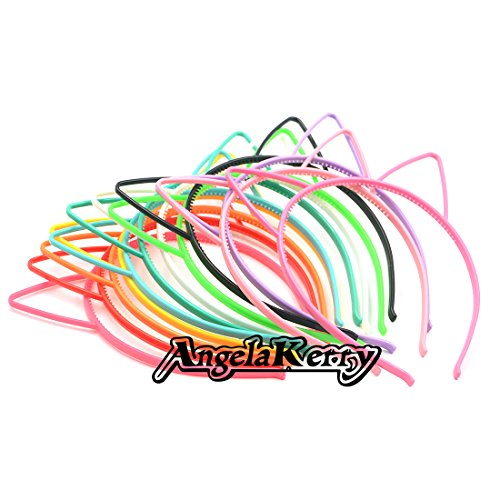 AngelaKerry 12pcs Mix Color Cat Ear Plastic Headbands Hairbands Bow for Girl's Fashion Party -