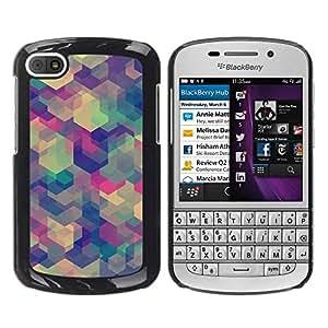 FECELL CITY // Duro Aluminio Pegatina PC Caso decorativo Funda Carcasa de Protección para BlackBerry Q10 // Art Pastel Soothing Pattern