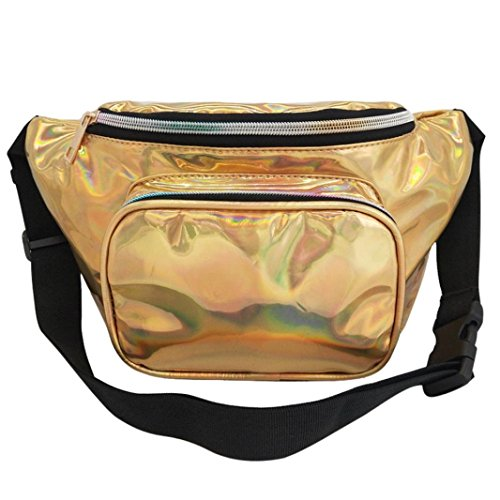 Winkey Chest Bag, Fashion Women Outdoor Waterproof Leather Messenger Shoulder Bag, Waist Bag Bumbag Gold